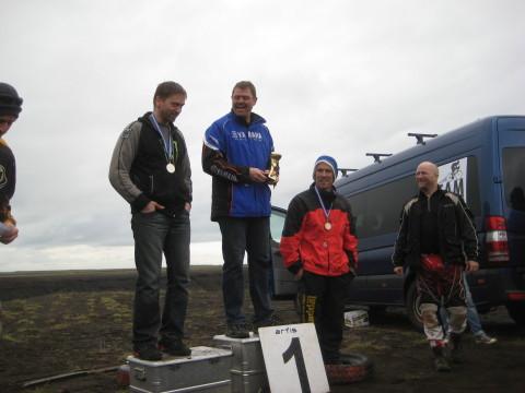"""40-49 flokkur, Gulli """"hjáleið"""" Sonax, Gunni Sölva og Toggi Óla skælbrosandi"""